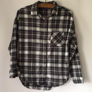 Brandy Melville high low plaid button down shirt
